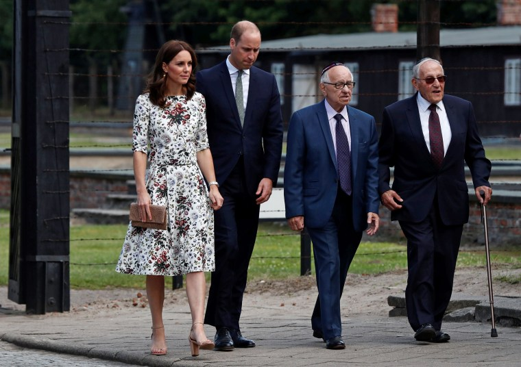 Image: Prince William, the Duke of Cambridge and Catherine, The Duchess of Cambridge meet with Holocaust survivors during their visit at the museum of former German Nazi concentration camp Stutthof in Sztutowo