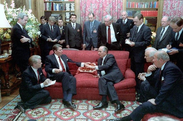Image: President Ronald Reagan, seated left, meets with Soviet General Secretary Mikhail Gorbachev at Maison de Saussure during the Geneva Summit