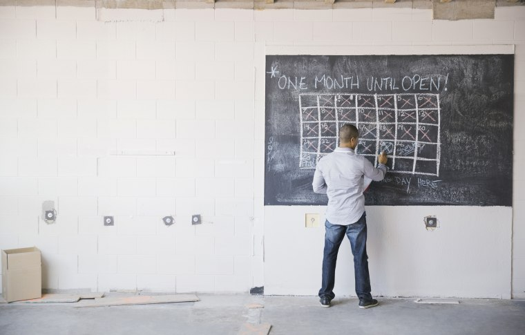 Image: A business owner at a blackboard