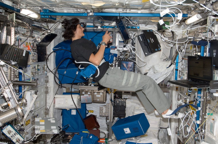 """NASA astronaut Sunita \""""Suni\"""" Williams works on the Reversible Figures (RFx) experiment in the Columbus laboratory of the International Space Station in July of 2012."""