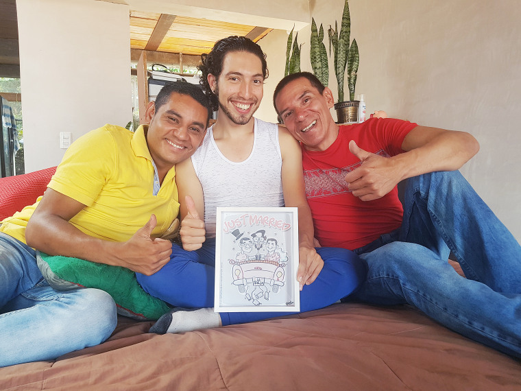 Image: Alejandro Rodriguez, Victor Hugo Prada and Manuel Bermudez are planning to hold a public wedding ceremony