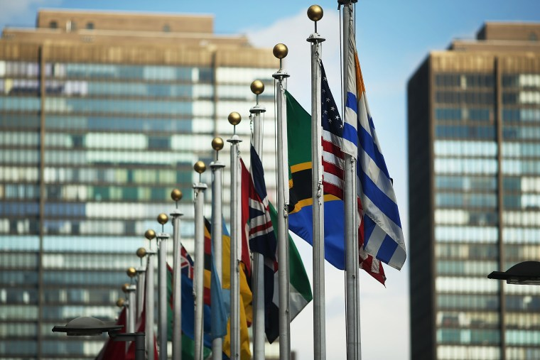 Image: The American flag flies with other nation's flag outside of the United Nations on January 26, 2017 in New York City.