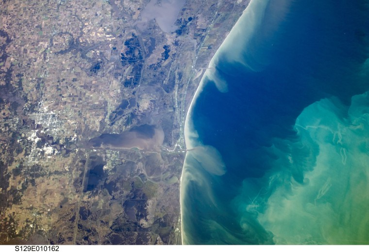 View of Cameron, Louisiana from space.