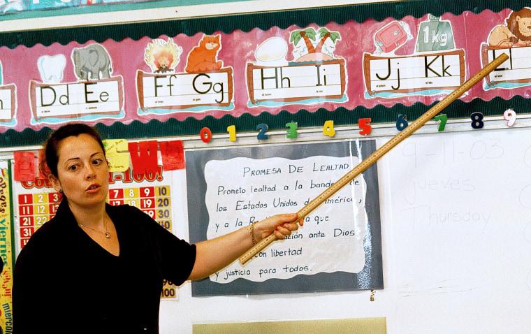 Image: Lourdes Carmona, a Spanish speaking first grade teacher, instructs a class