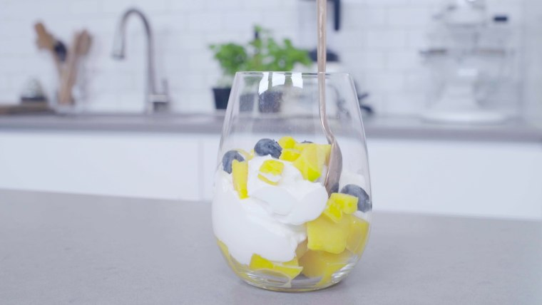 A tasty breakfast parfait perfect for summer mornings.