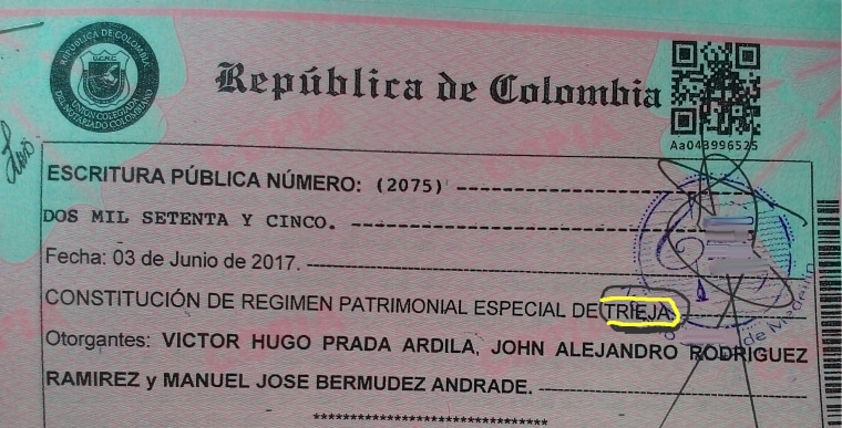 """A photo of the """"special patrimonial union"""" document that recognizes the legal partnership of Alejandro Rodriguez, Victor Hugo Prada and Manuel Bermudez"""