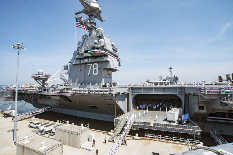 Image: US Navy aircraft carrier the USS Gerald R. Ford commissioned in Norfolk