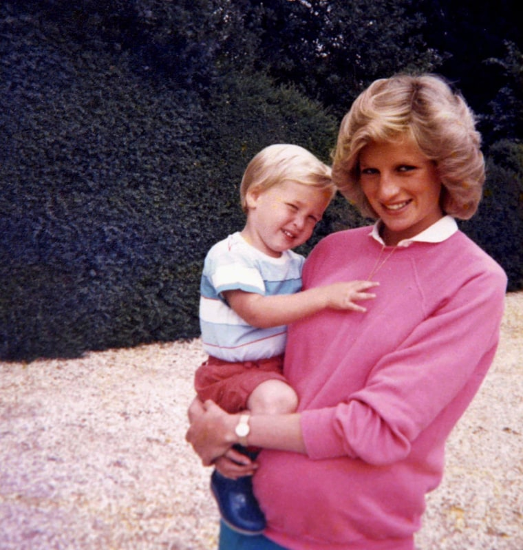 Image:  Diana, Princess of Wales, holds Prince William