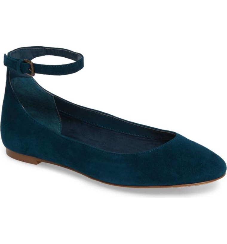 Strappy teal ballet flat