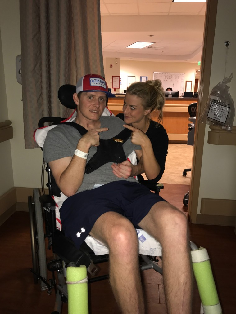 Since Jon Grant's accident in March, Laura Grant has been by her husband's side. Two weeks ago, he stood and embraced her for the first time during his recovery.