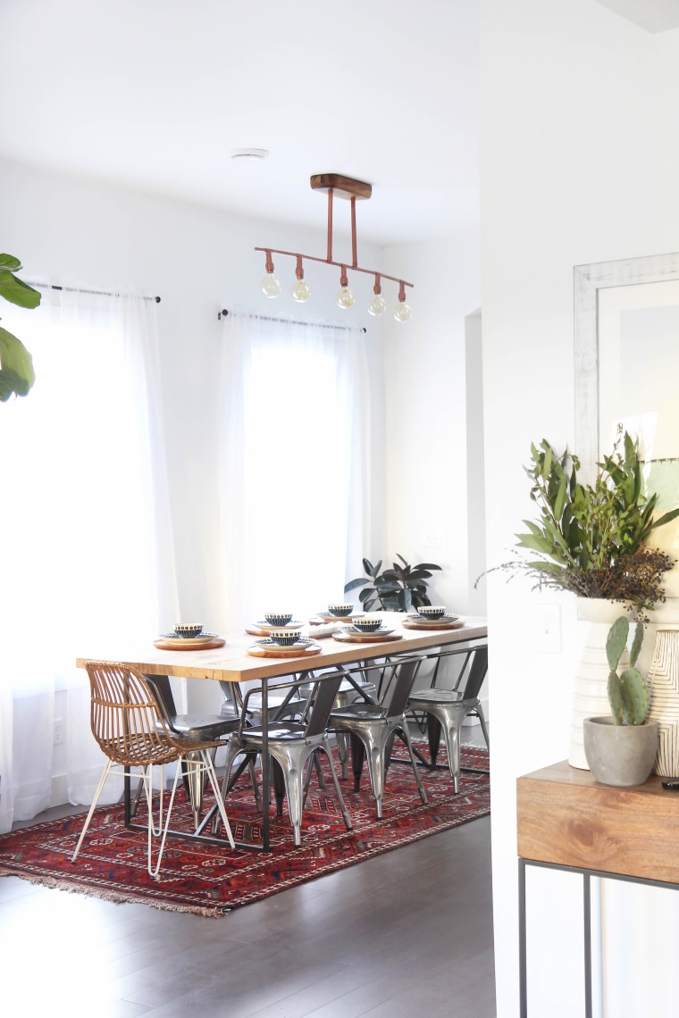The 7-foot-long dining room table is the perfect space for entertaining.