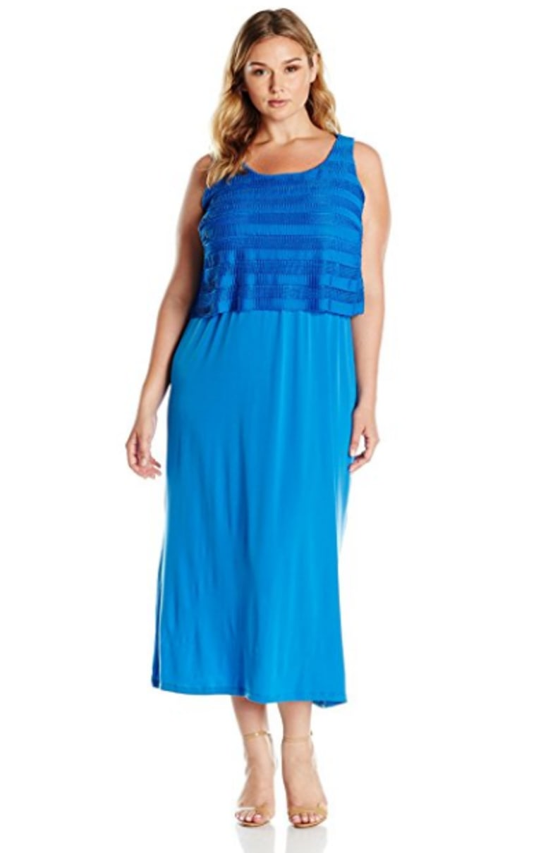 NY Collection Womens Plus Matte Jersey Popover Maxi Dress