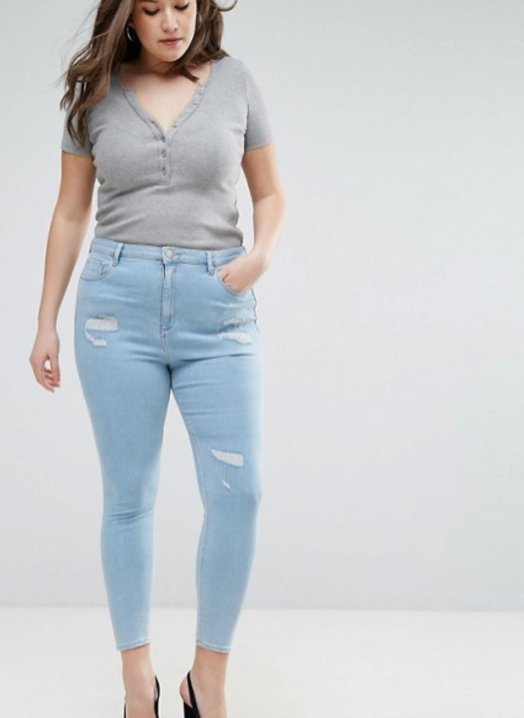 ASOS CURVE High Waist Ridley Skinny Jean In Hibiscus Light Wash Blue