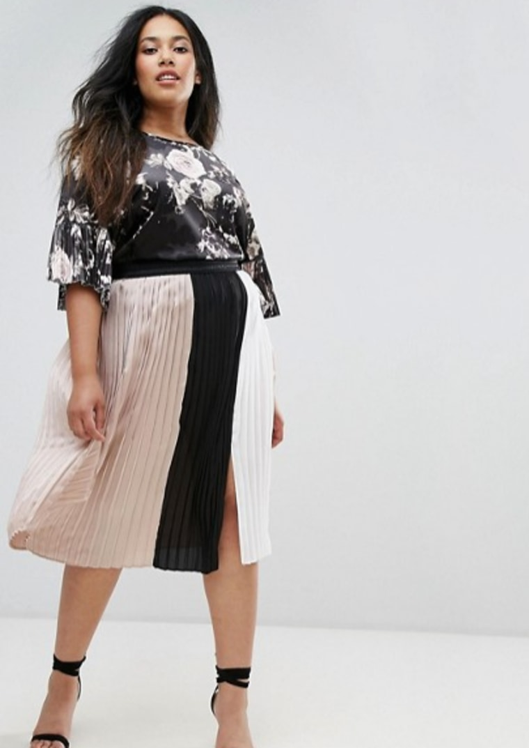Elvi Pleated Color Block Skirt With Split Detail