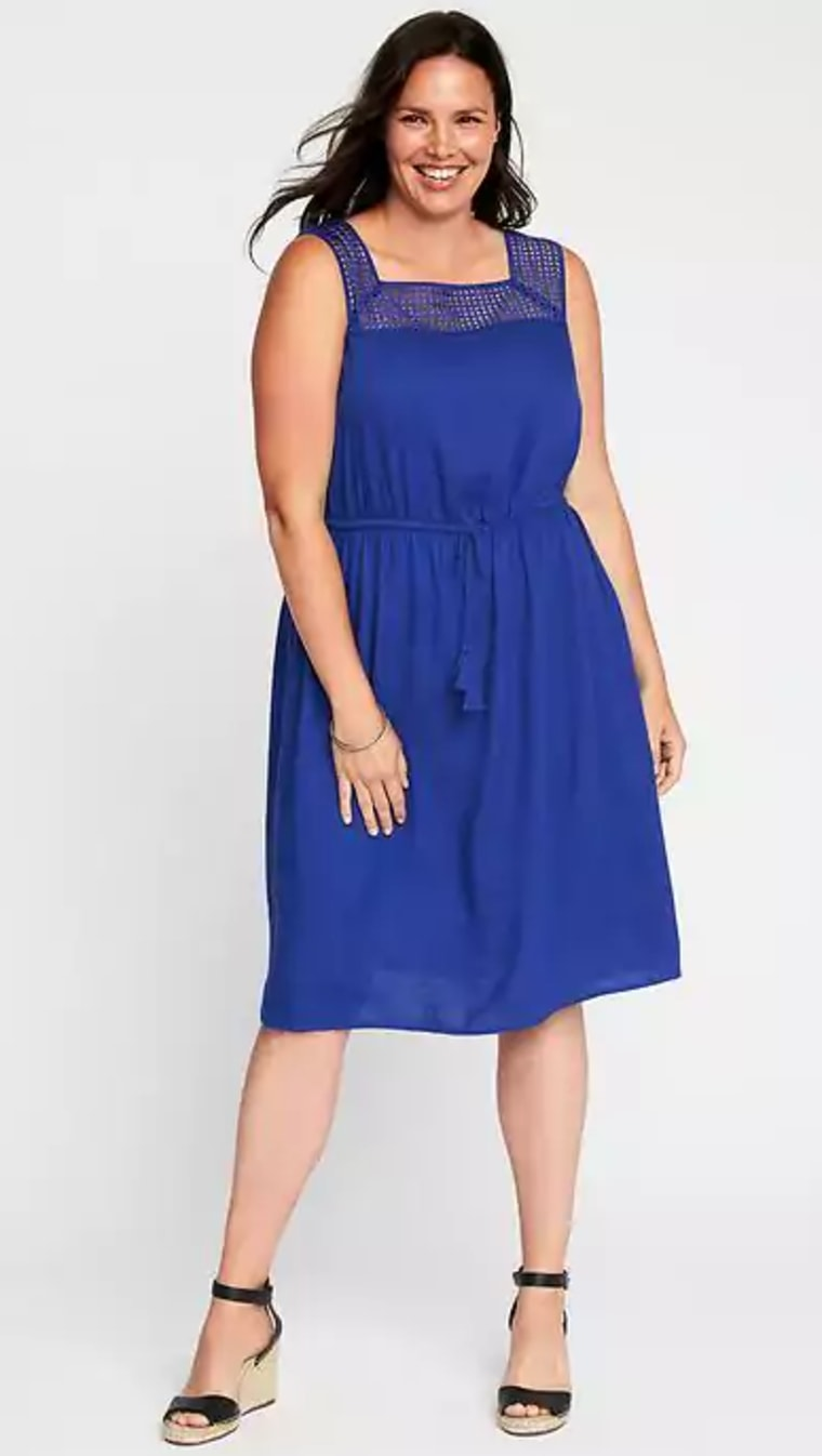 Plus-Size Linen-Blend Tie-Waist Dress