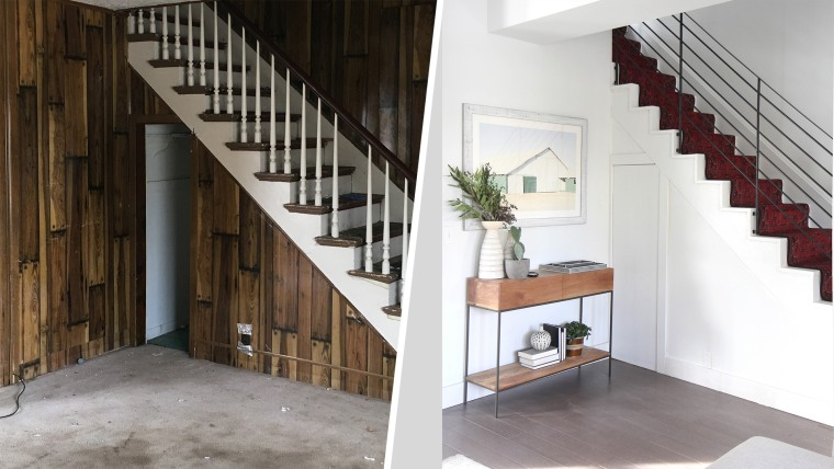 Radosevich saved iron rods from the original ceiling structure to make a modern-looking staircase.