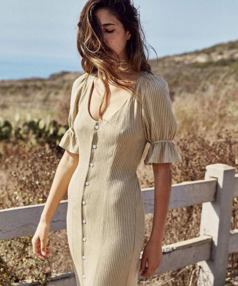 """""""The Lennon Dress"""" in tan stripe"""