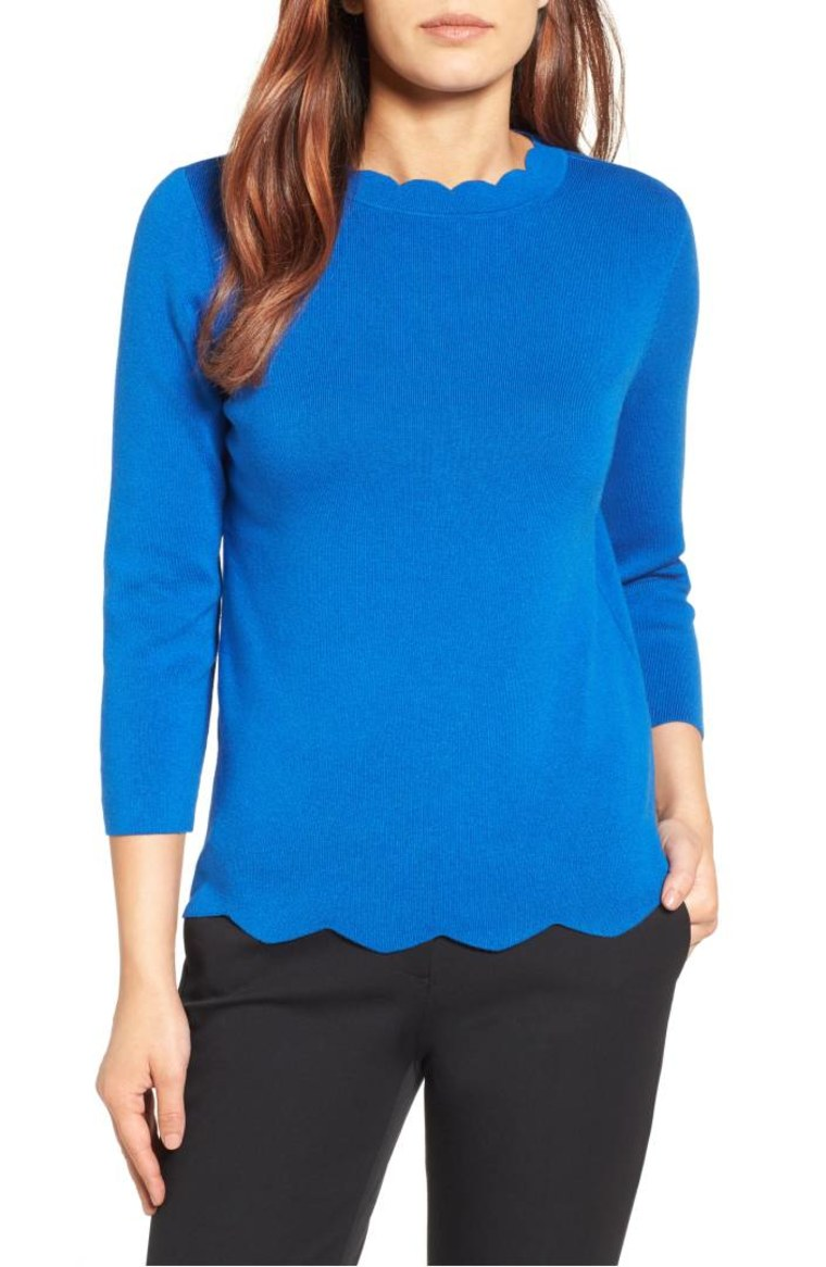 Blue scalloped sweater