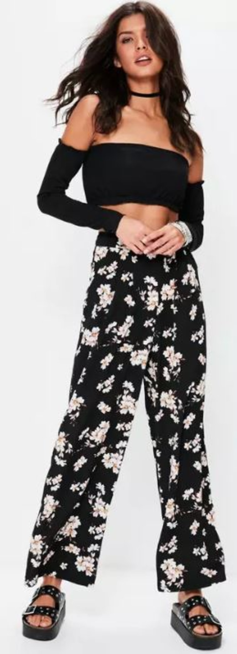 Back Floral High Waisted Pants