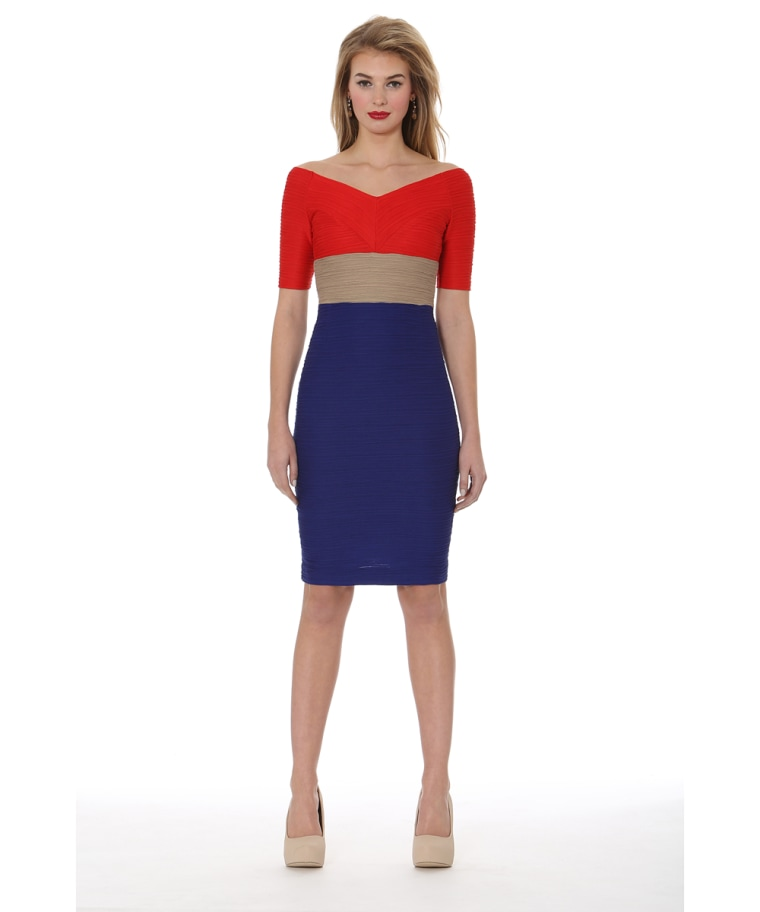 Nue by Shani Colorblocking Ottoman Dress