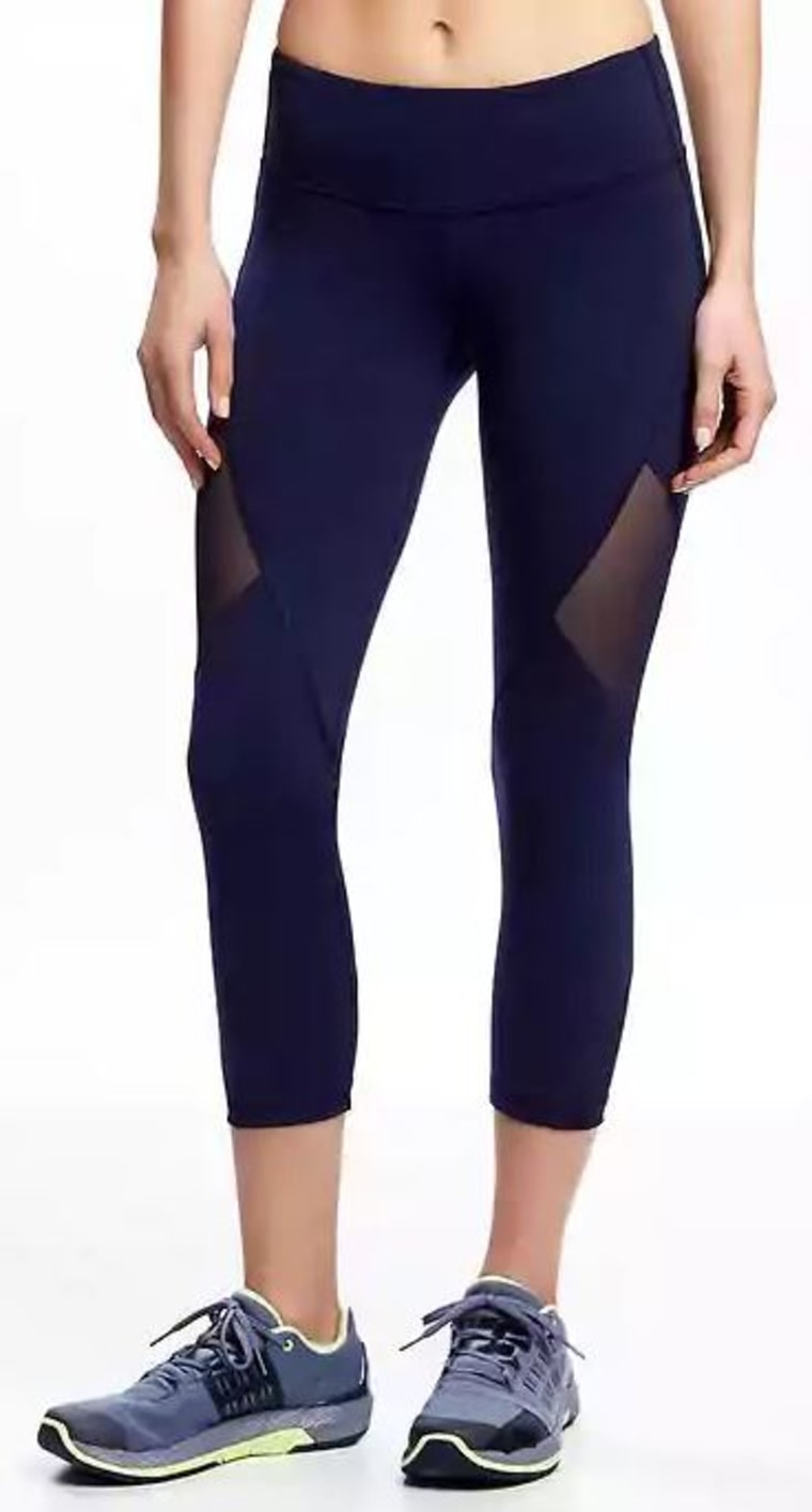 Old Navy Mid-Rise Go-Dry Mesh-Panel Compression Capris for Women
