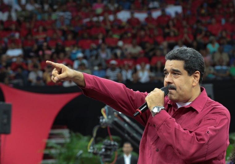Image: Venezuela's President Nicolas Maduro speaks during a gathering in support of him and his proposal for the National Constituent Assembly in Caracas