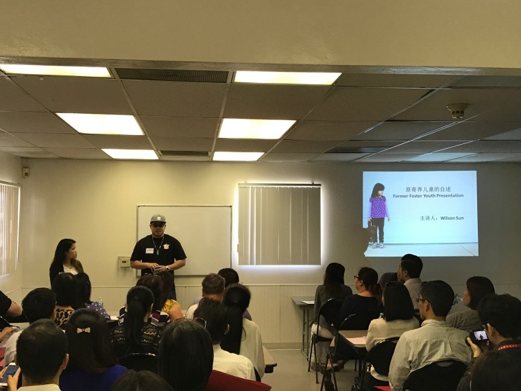 Wilson Sun, sharing his experience as a former foster youth at the Asian Foster Family Initiative March 2017 info session.