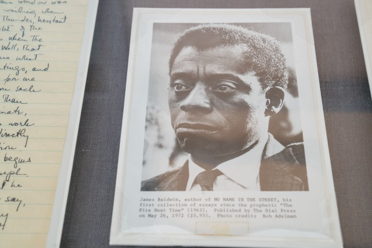 Baldwin documents on display at the Schomburg Center for Research in Black Culture