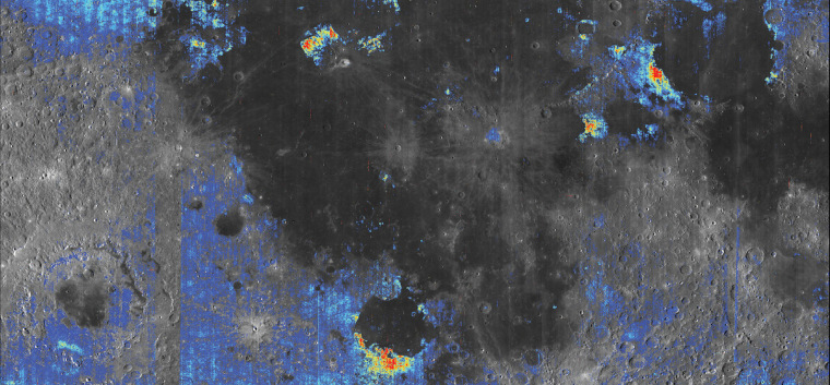 Colored areas on this map show spots with elevated water content compared with surrounding terrain on the moon's surface. Yellow and red indicate the richest water content.