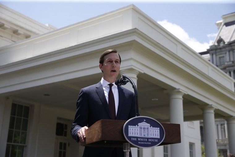 Image: White House Senior Adviser Kushner speaks to members of White House press in Washington