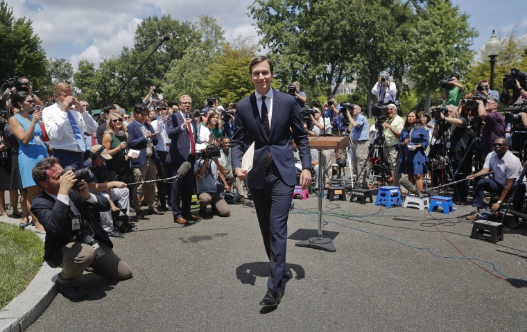 Image: White House senior adviser Jared Kushner walks away from the podium after speaking to reporters