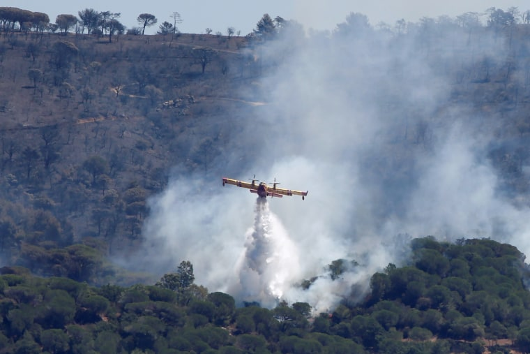 Image: A Canadair firefighting plane drops water to extinguish a forest fire on La Croix-Valmer from Cavalaire-sur-Mer