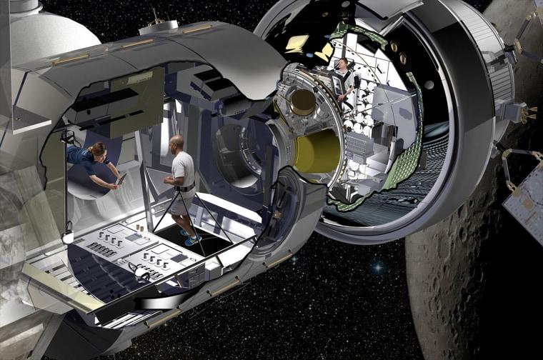 Lockheed Martin artist rendering of the NextSTEP habitat docked with Orion in cislunar orbit as part of a deep space gateway.