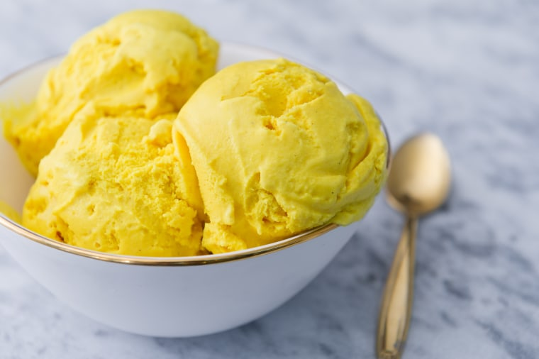The golden turmeric ice cream from Malai Ice Cream