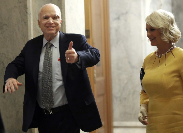 Image: Sen. John McCain, R-Ariz., returns to Capitol Hill for the  health care vote after cancer diagnosis