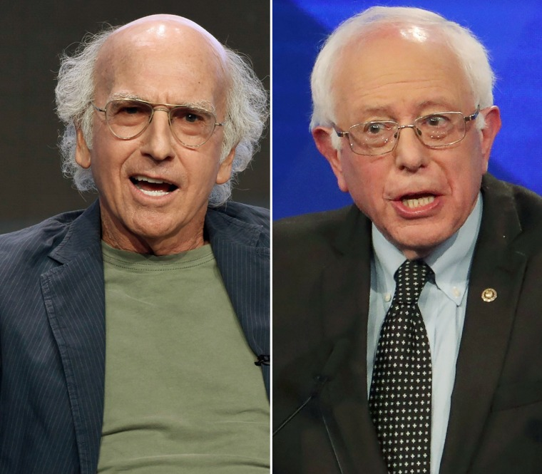 Comedian Larry David, left, and Sen. Bernie Sanders
