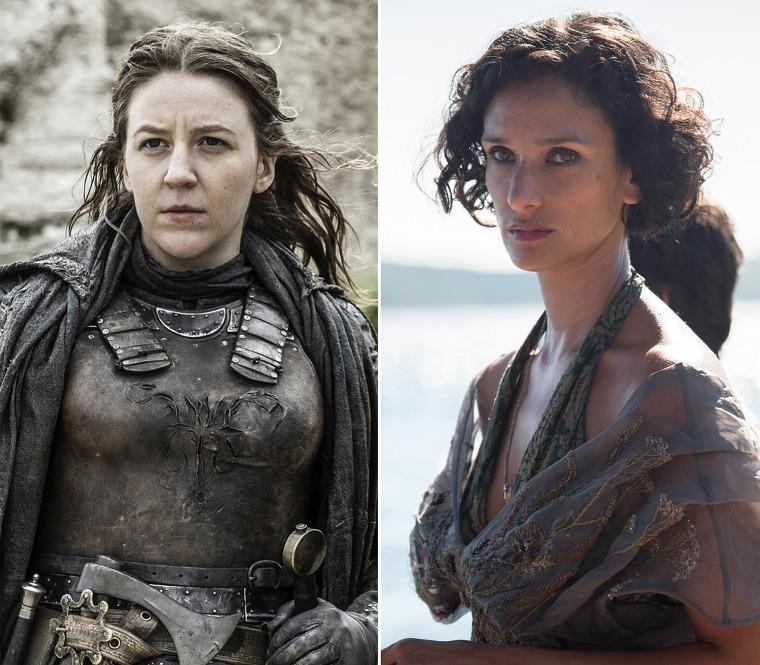 Image: Yara Greyjoy (Gemma Whelan) and Ellaria Sand (Indira Varma) on HBO's Game of Thrones.