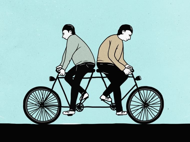 Image: Illustration of male friends riding a tandem bicycle in opposite directions