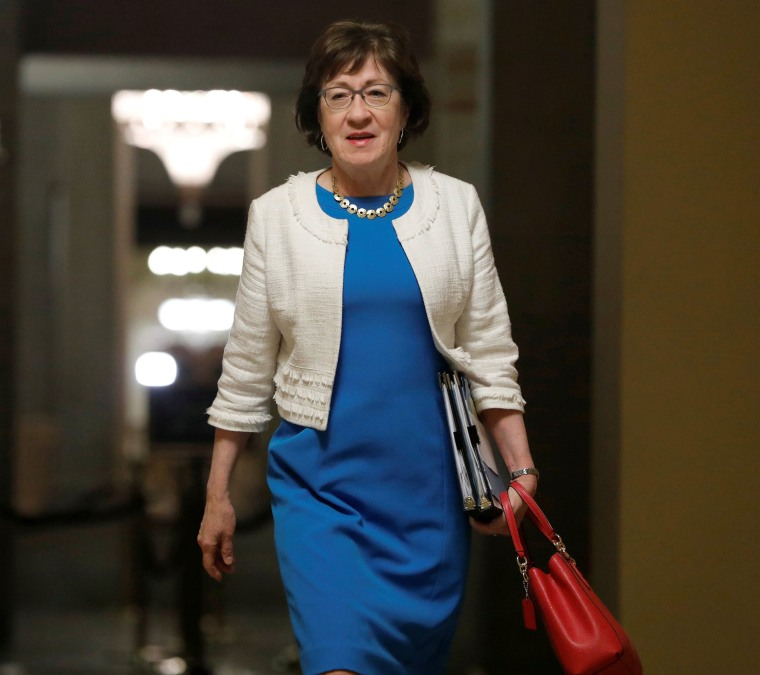 Image: Senator Susan Collins, R-Maine, walks to the Senate floor ahead of a vote on the health care bill on Capitol Hill in Washington