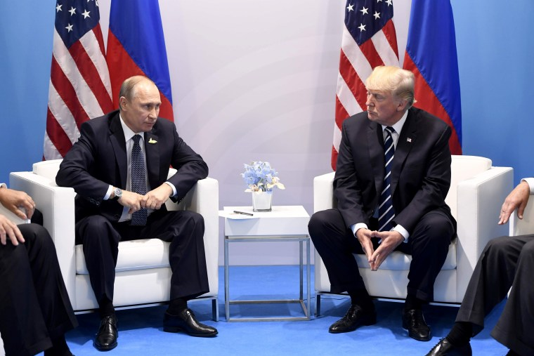 Image: President Donald Trump and Russia's President Vladimir Putin hold a meeting on the sidelines of the G20 Summit in Hamburg, Germany, on July 7, 2017.