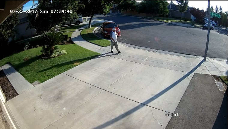 Security video shows Subag Singh of Fresno walking away form his house on July 23.