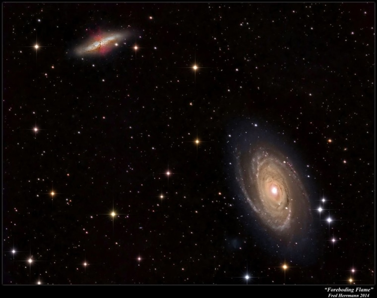 "This image shows a pair of galaxies where ""intergalactic transfer"" may be occurring. Gas ejected by supernova explosions in M82 (upper left) can travel through space and eventually add to the growth of M81 (bottom right)."