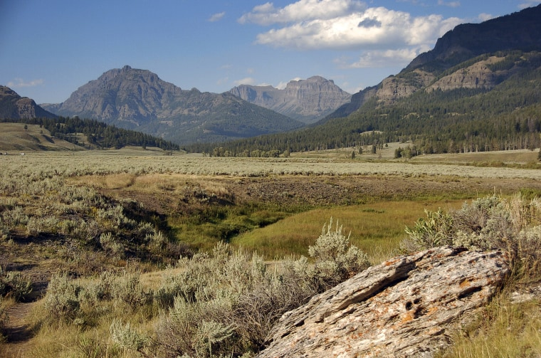 A view of the mountains surrounding the Lamar Valley in Yellowstone National Park on August 3, 2016.