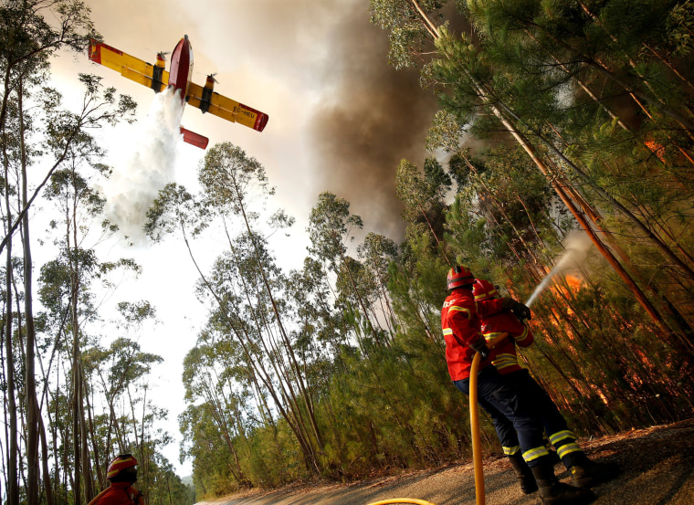 Image: Firefighters work to put out a forest fire next to the village of Macao