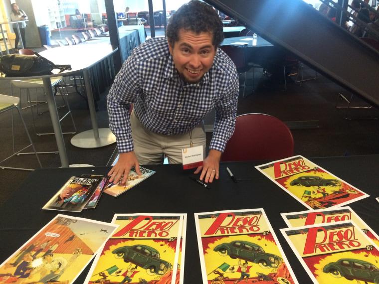 Hector Rodriguez III, a 5th grade schoolteacher and creator of comic super hero El Peso Hero, organized Texas Latino Comic Con for July 29, 2017.