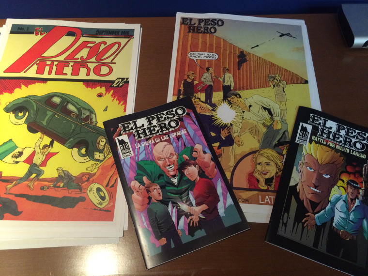Pictured are copies of volumes of El Peso Hero comic created by Hector Rodriguez III who organized the first Texas Latino Comic Con scheduled for July 29, 2017.