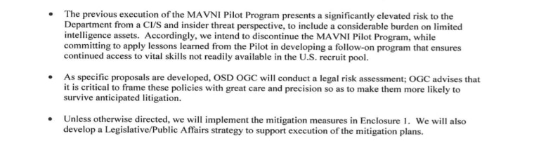 An excerpt of a May Department of Defense memo on the MAVNI program.