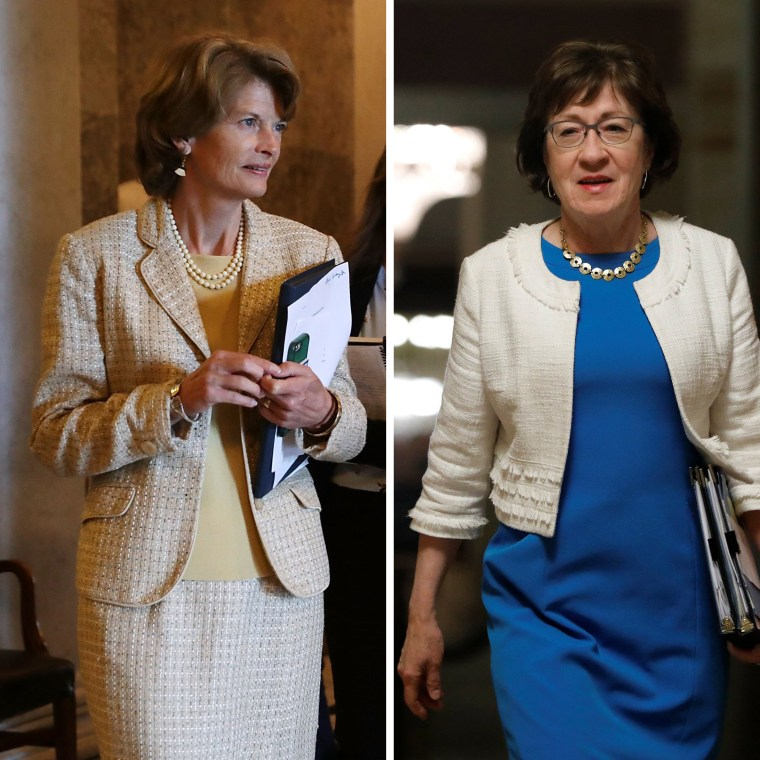 LEFT: Sen. Lisa Murkowski (R-AK) leaves the Senate Chamber following a couple of votes in the U.S. Capitol July 26, 2017 in Washington, DC. RIGHT: Senator Susan Collins (R-ME) walks to the Senate floor ahead of a vote on the health care bill on Capitol Hill in Washington, July 27, 2017.