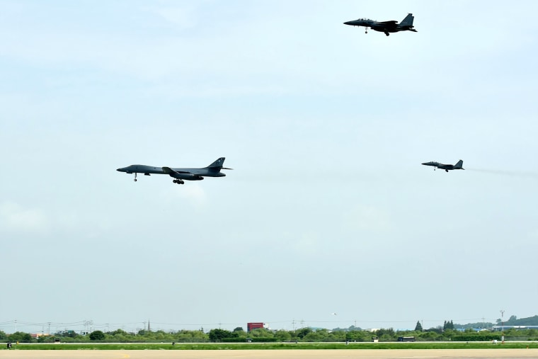 Image: U.S. and South Korean fighter jets over Osan Air Base
