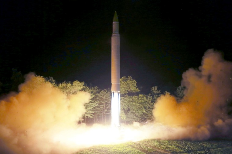 Image: This July 28, 2017 picture released from North Korea's official Korean Central News Agency (KCNA) on July 29, 2017 shows North Korea's intercontinental ballistic missile (ICBM), Hwasong-14 being launched at an undisclosed place in North Korea.